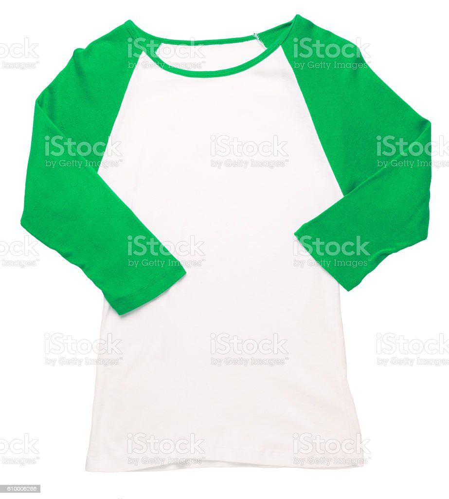 Women's green baseball jersey on white stock photo