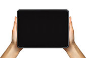 Women's hand showing black tablet, concept of taking photo or playing games with two hands. Isolated with clipping path.