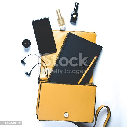 847905020 istock photo Women's handbag and accessories on white background. Flat lay and top view 1130335494