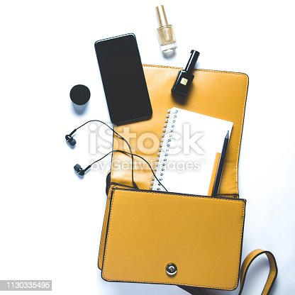 847905020 istock photo Women's handbag and accessories on white background. Flat lay and top view 1130335495