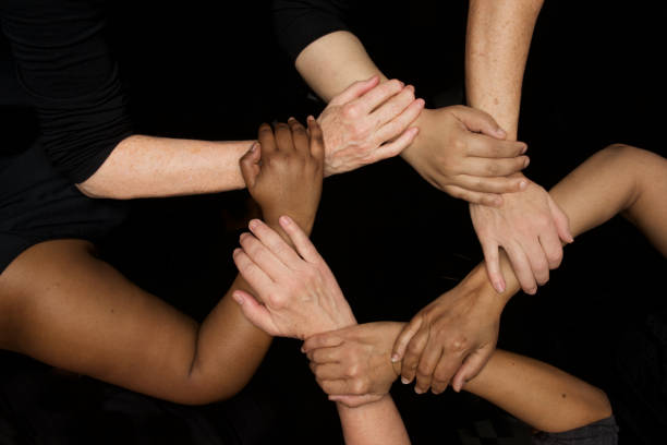 womens hands of diversity, empowerment and equality - battle of the sexes concept stock pictures, royalty-free photos & images