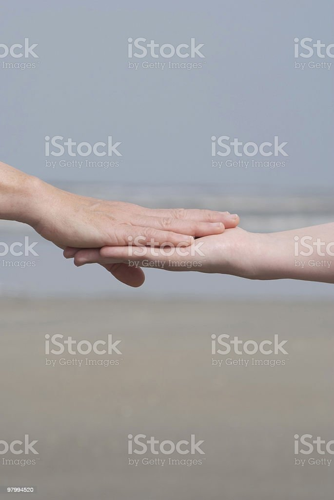 Women's hands, palms touching, copy space royalty-free stock photo