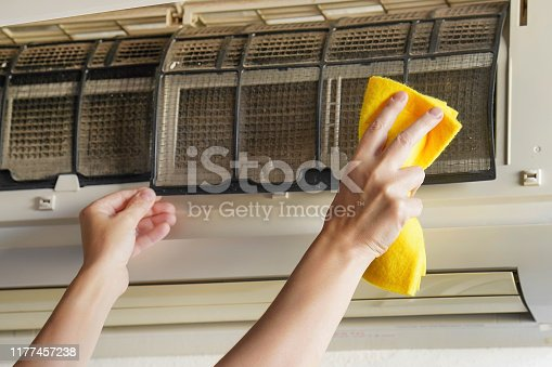istock Women's hands wash home air conditioning 1177457238