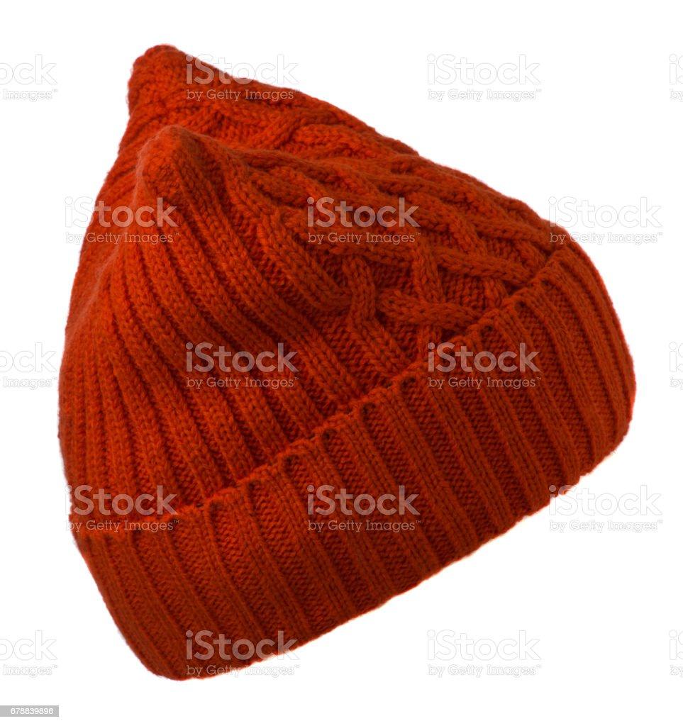 Kadın şapka. Beyaz background.red şapka izole örme şapka royalty-free stock photo