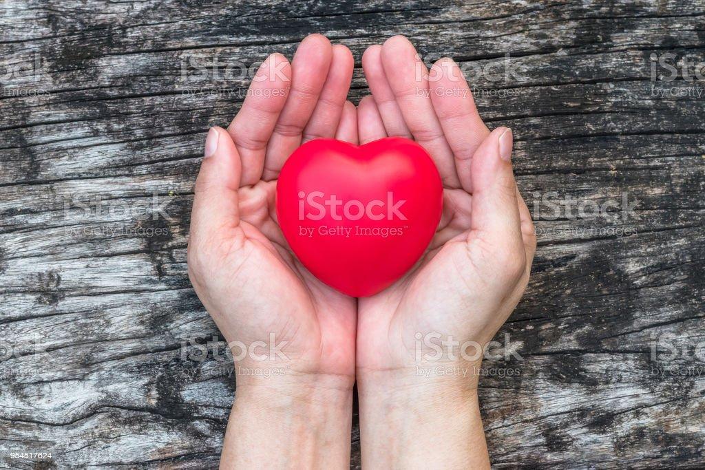 Cuidado de salud de la mujer corazón, concepto médico con corazón sano amor rojo en apoyo de la mano del envejecimiento - foto de stock