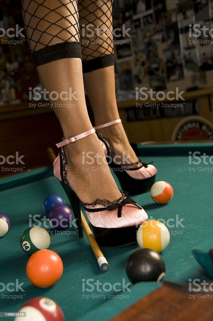 Womens High Heels On Pool Table Stock Photo More Pictures Of Adult - How high is a pool table