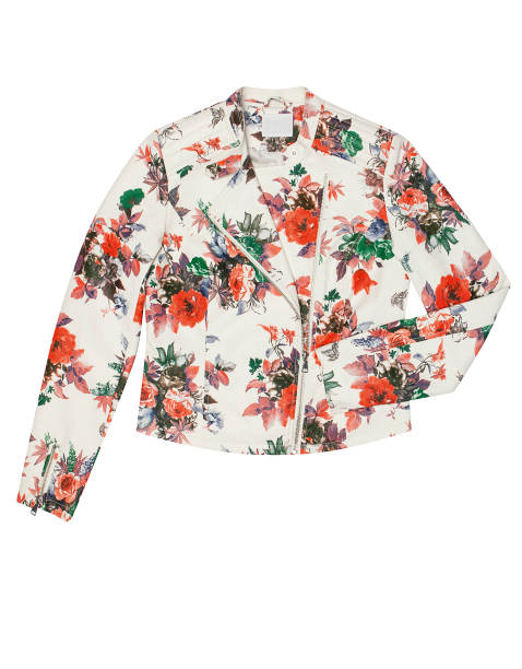 Women's Jacket, Floral patterned Women's clothing isolated on white background blazer jacket stock pictures, royalty-free photos & images