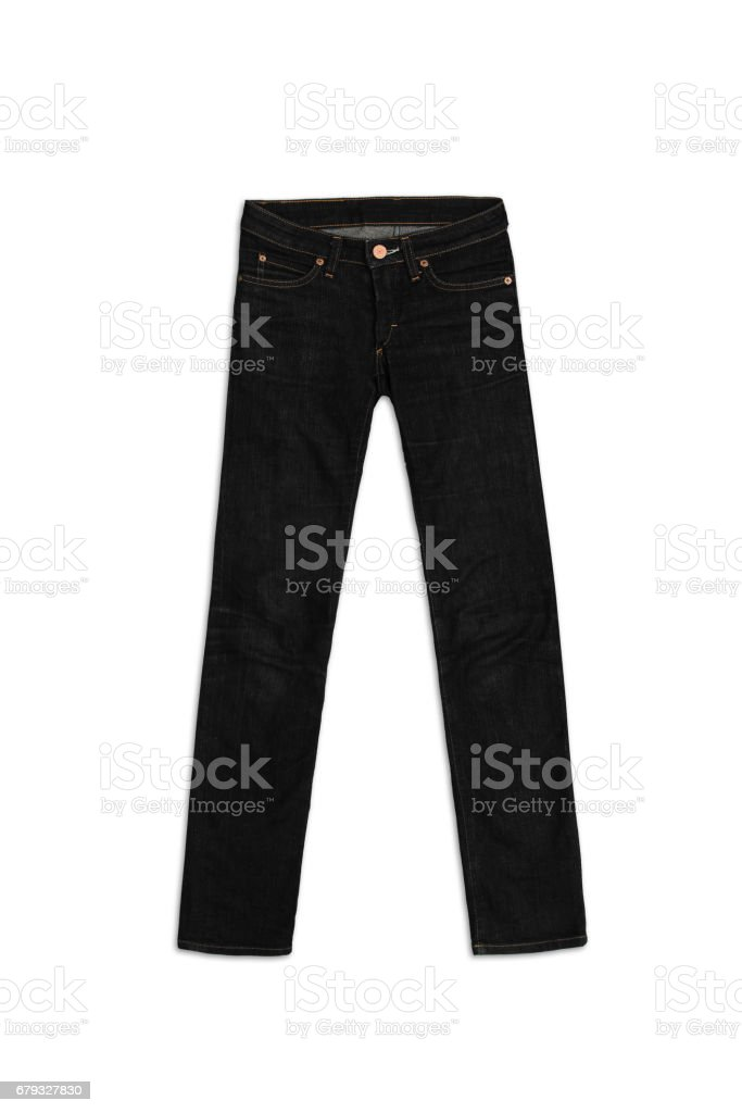 Womens Jeans Pants in black, isolated on white background royalty-free stock photo