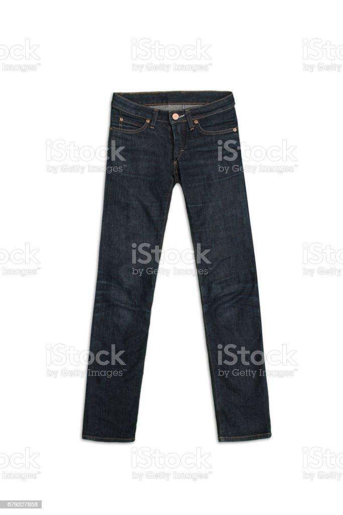 Womens Jeans Pants in blue, isolated on white background stock photo