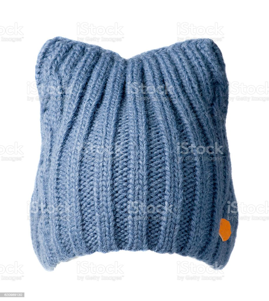 Women's knitted hat isolated on white background.blue hat foto royalty-free
