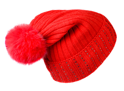 Women's knitted hat isolated on white background.hat wit