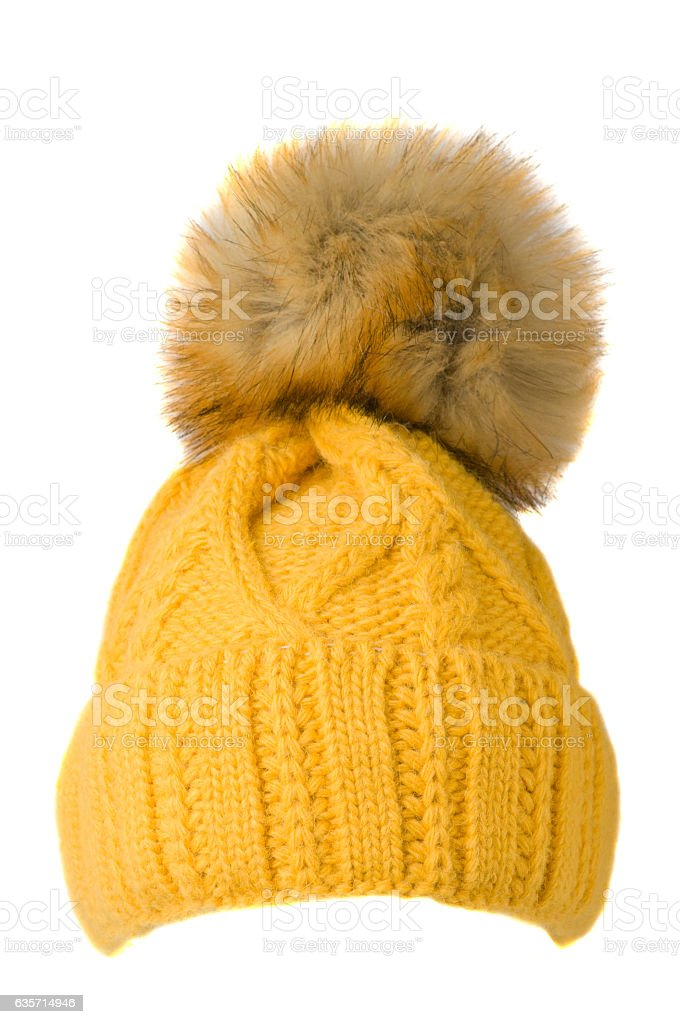 Women's knitted hat isolated on white background.hat with p royalty-free stock photo