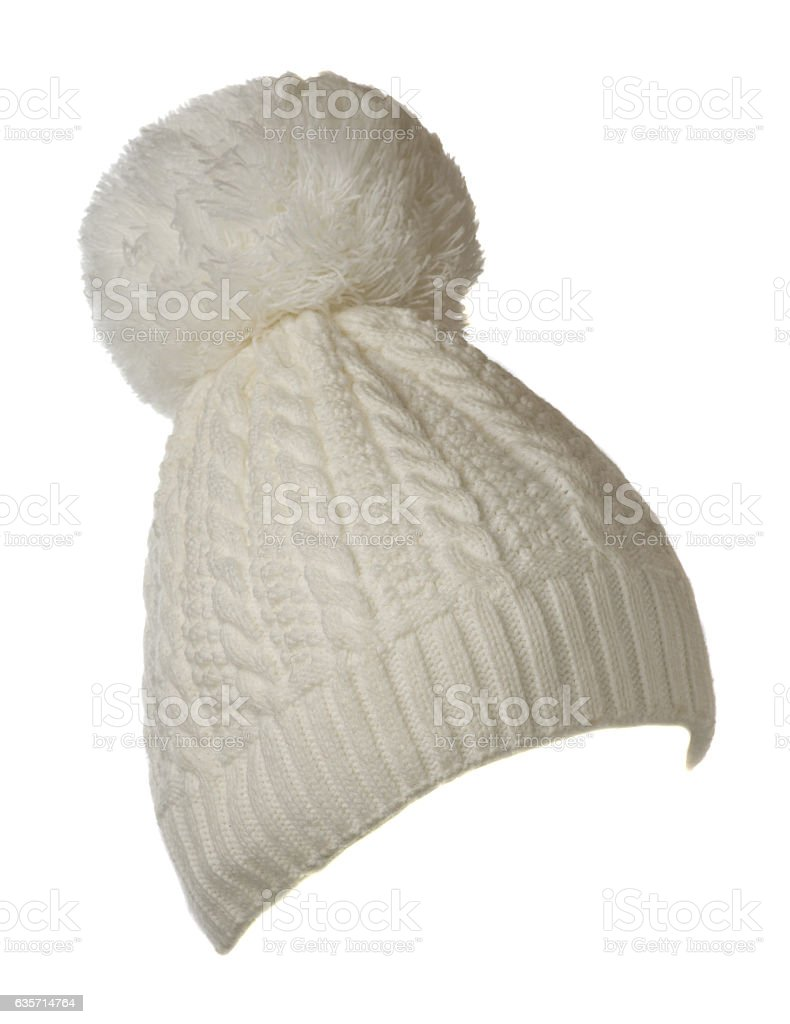 Women's knitted hat isolated on white background.hat with royalty-free stock photo