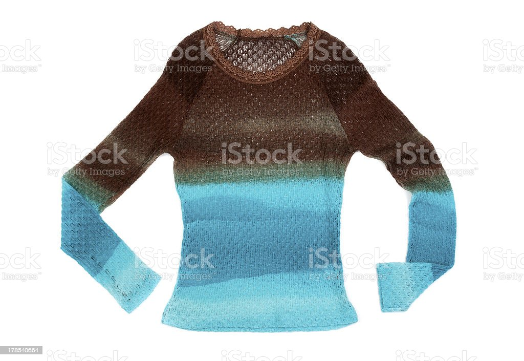 Women's knitted striped sweater royalty-free stock photo