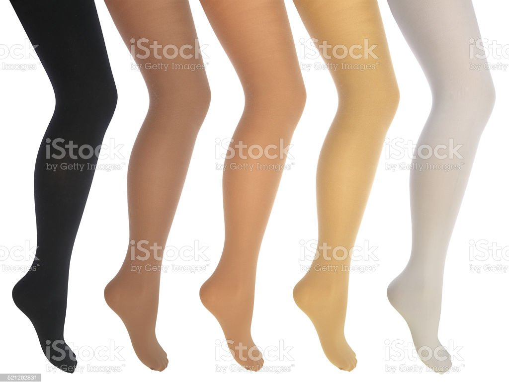 Women's legs in various tights stock photo