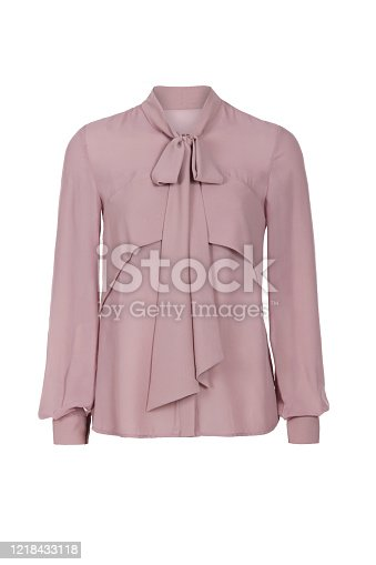Fashionable summer light silk blouse with long sleeves  isolated on white background.