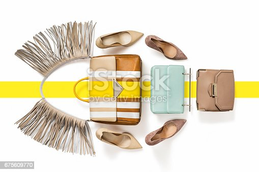 istock Women's luxury handbags with high heels isolated on white background 675609770