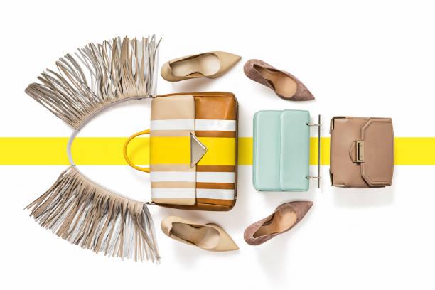 Damen-Luxus-Handtaschen mit high Heels isoliert auf weißem Hintergrund – Foto