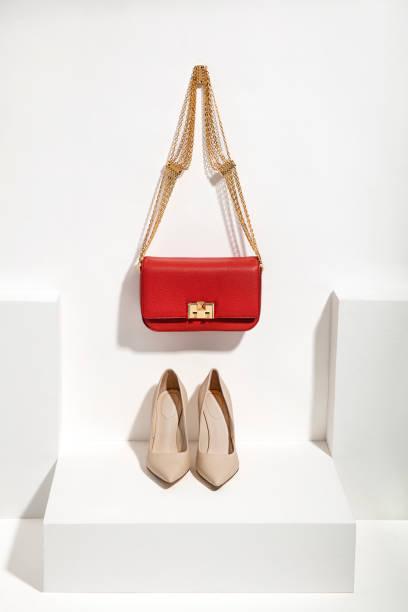女性の高級革のバッグと高いヒール - 靴のファッション ストックフォトと画像