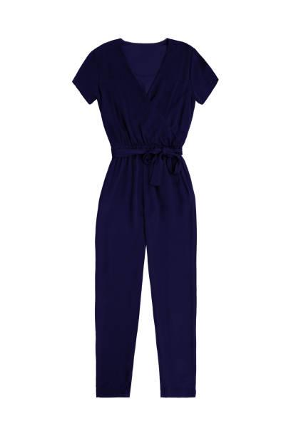 frauen dunkelblauen overall insgesamt, isoliert auf weißem hintergrund - jumpsuit blau stock-fotos und bilder