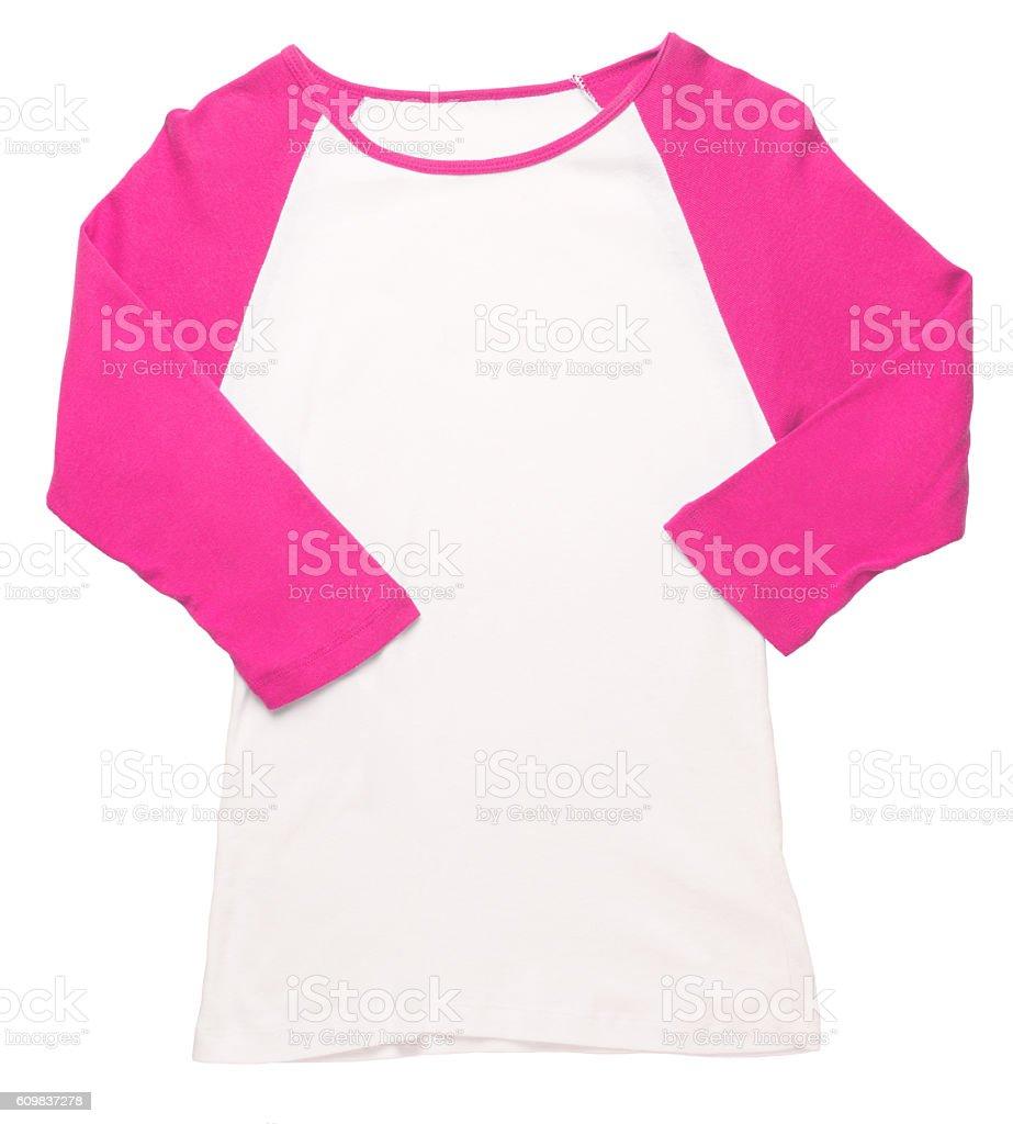 Women's pink baseball jersey on white stock photo