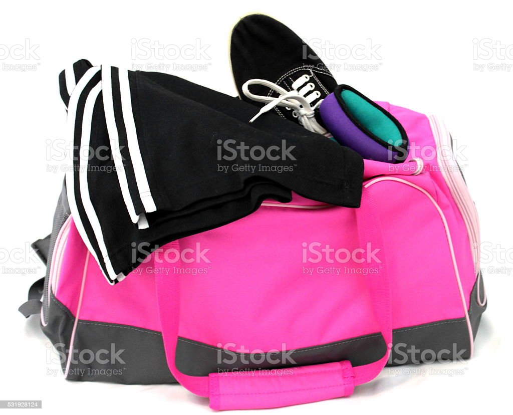 26ecdcf742 Womens Pink Gym Bag Shoes Pants And Exercise Equipment Stock Photo ...