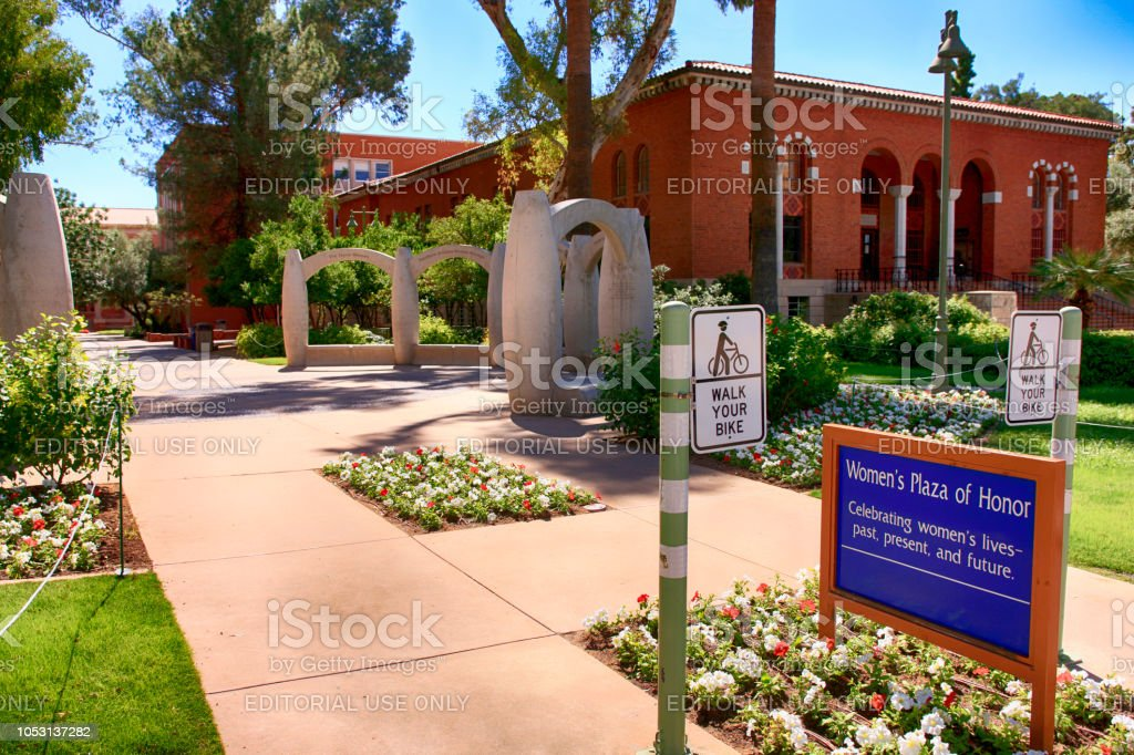 Women's Plaza of Honor on the campus of the University of Arizona, Tucson. stock photo