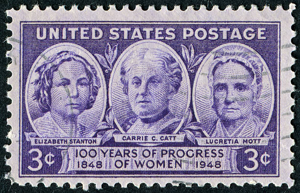 """Women's Progress Stamp """"Richmond, Virginia, USA - May 21st, 2012:  Cancelled Stamp From The United States Featuring Three Women Involved In Women's Rights.  The Women Are Elizabeth Stanton, Carrie C. Catt, And Lucretia Mott."""" women's suffrage stock pictures, royalty-free photos & images"""