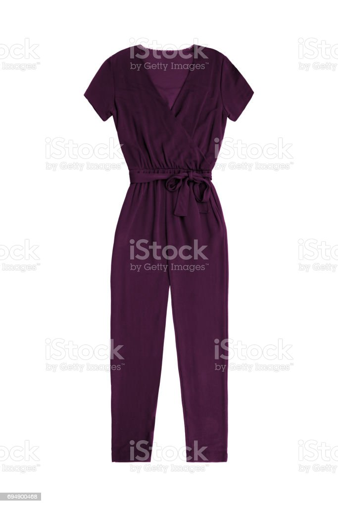 women's purple jumpsuit overall, isolated on white background stock photo