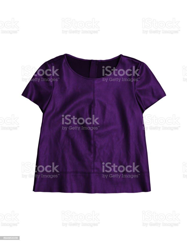 women's purple leather shirt, isolated on white background stock photo