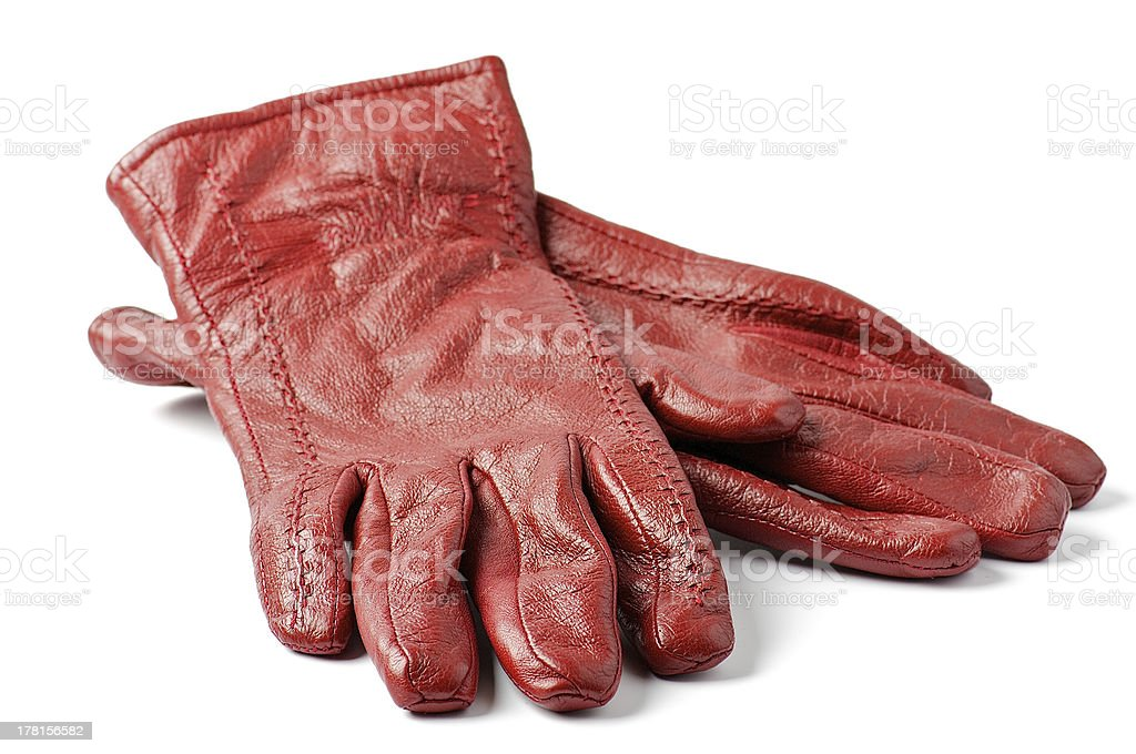 Women's Red leather gloves stock photo