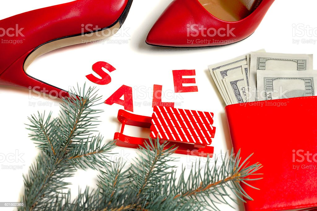 Women's red shoes on Christmas sale foto stock royalty-free