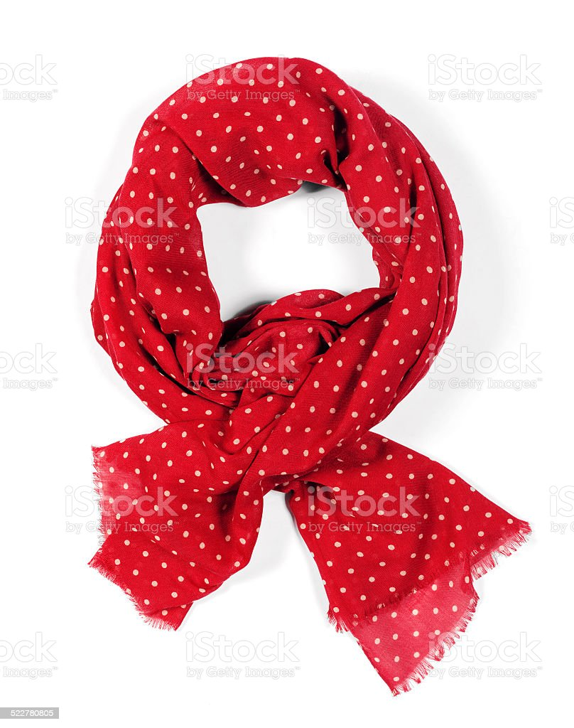 Women's red silk scarf with white dots stock photo