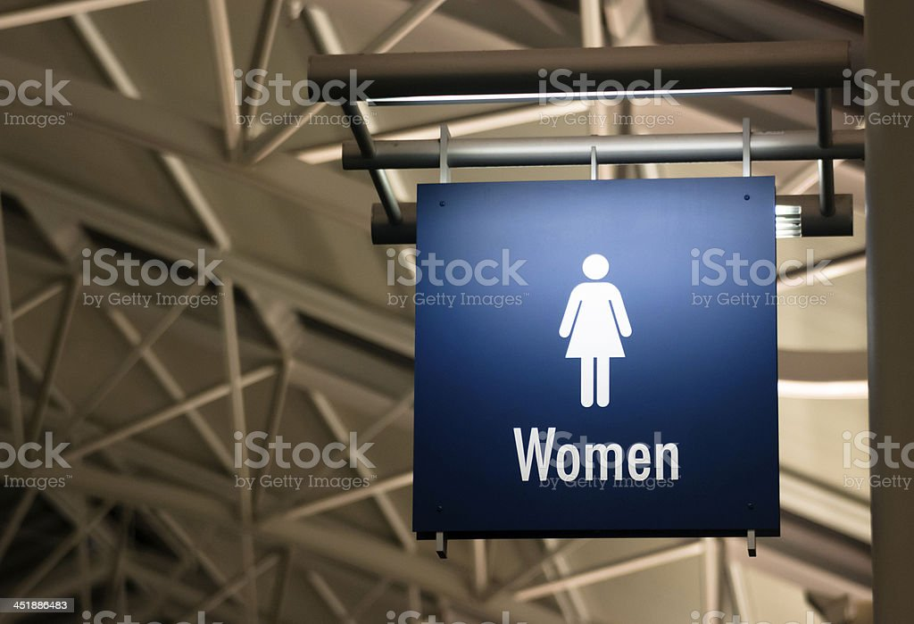 Women's Restroom Ladies Lavatory Sign Marker Public Building Archictecture stock photo