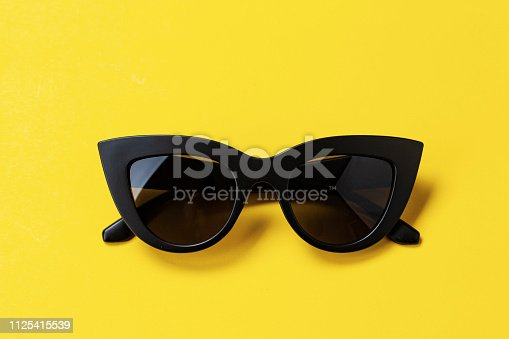Women's retro sunglasses cat or fox on a bright yellow background. space for text