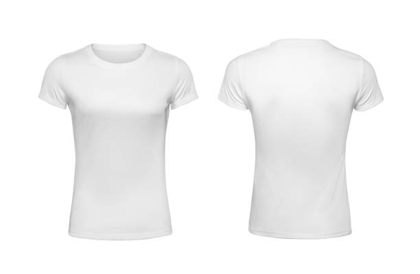 women's shirt design templates isolated on white - white tshirt stock photos and pictures