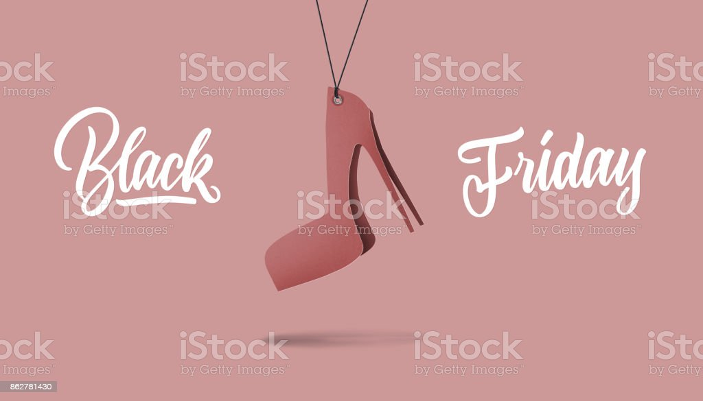 womens shoe on high hill made of cardboard. black friday and sales concept stock photo