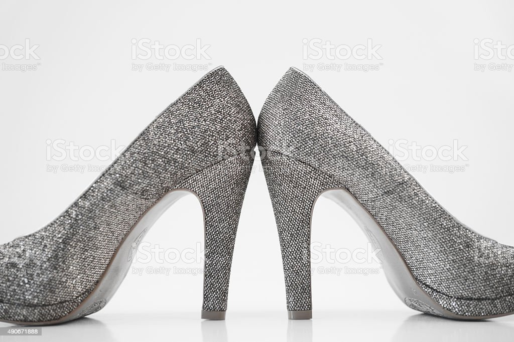 fb14dd4c03c Womens Silver High Heels On White Background Stock Photo   More ...