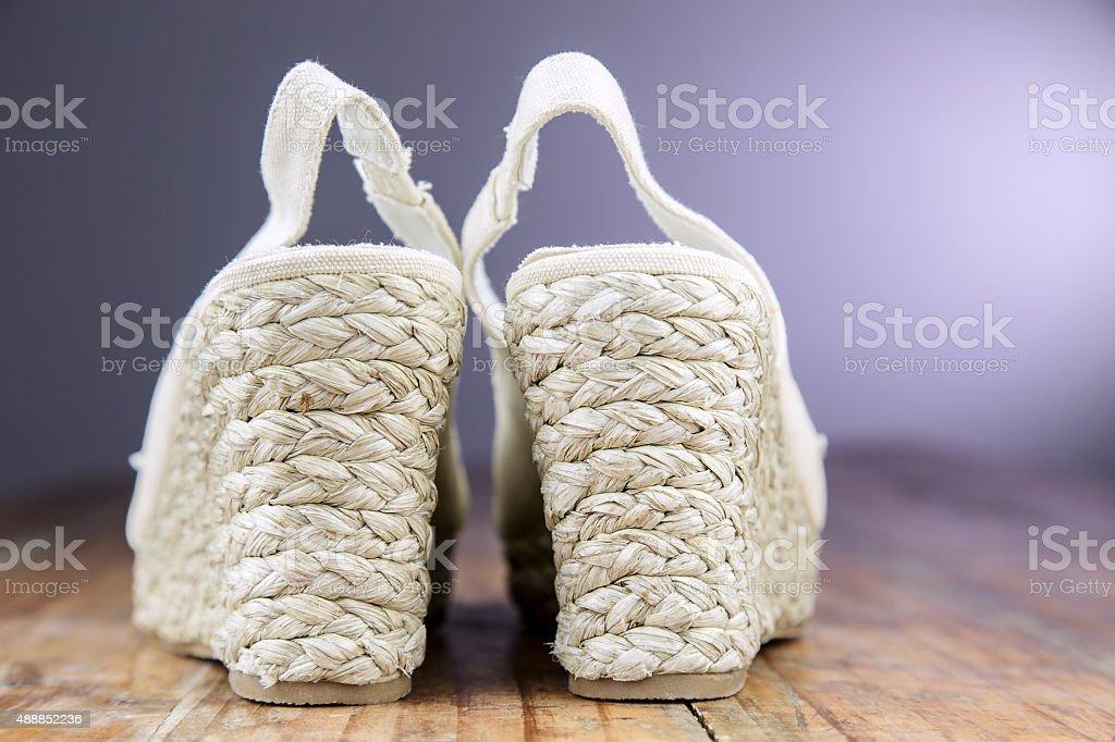 Women's Slingback Wedgies stock photo