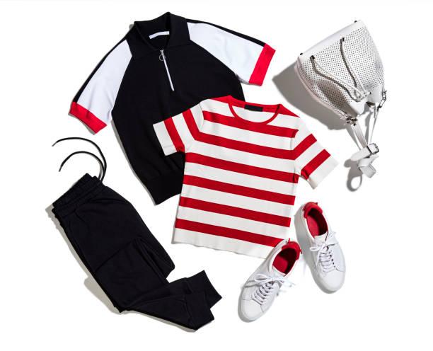 damen sportbekleidung - rotes oberteil stock-fotos und bilder