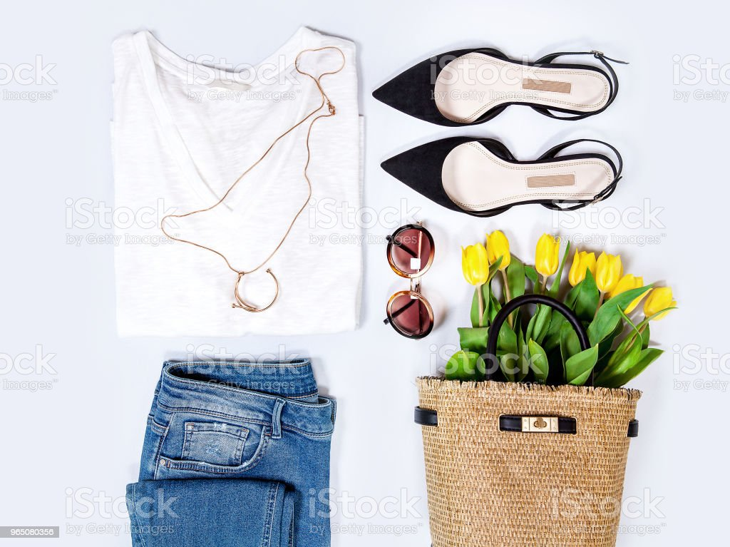 Women's spring summer basic outfit. Apparels flat composition zbiór zdjęć royalty-free
