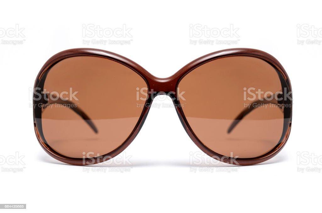 Marrón Gafas Sobre Mujer Fondo Sol Blanco De Con Cristal Aislada QtsrdCh