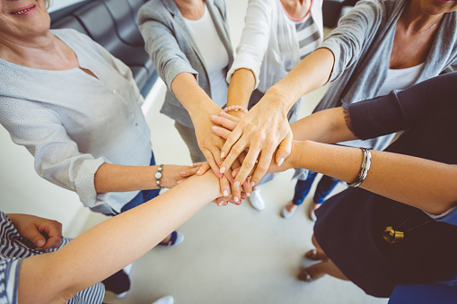 Womens Team Group Of Women Joining Hands Stock Photo - Download Image Now