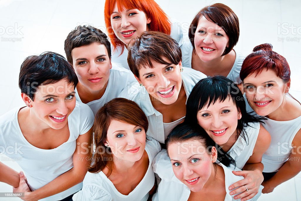 Women's team Group of women smiling at the camera. Elevated view. Adult Stock Photo