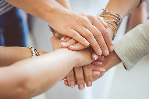 Womens Team Womens Hands Together Stock Photo - Download Image Now