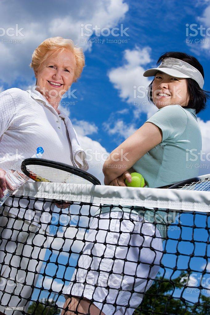 Women's tennis doubles team royalty-free stock photo