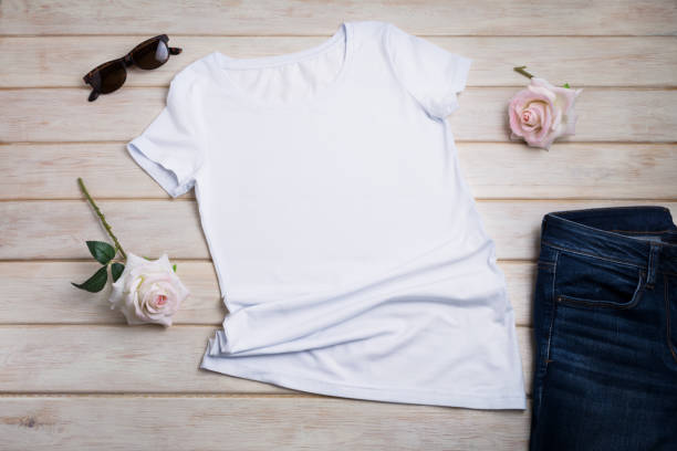 Women's T-shirt mockup with pink roses stock photo