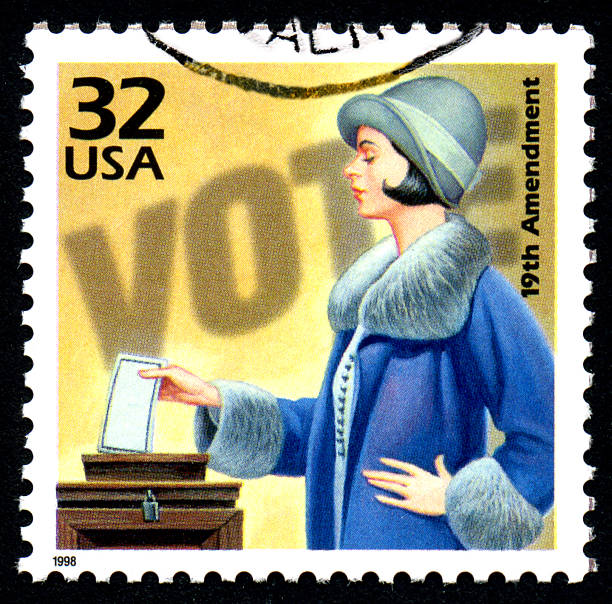 Women's Voting A United States postage stamp issued in 1998 commemorating the ratification of the 19th Amendment to the US Constitution granting women the right to vote. women's suffrage stock pictures, royalty-free photos & images