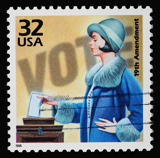 Women's Voting Stamp Women's Voting Stamp on a black background. suffragist stock pictures, royalty-free photos & images