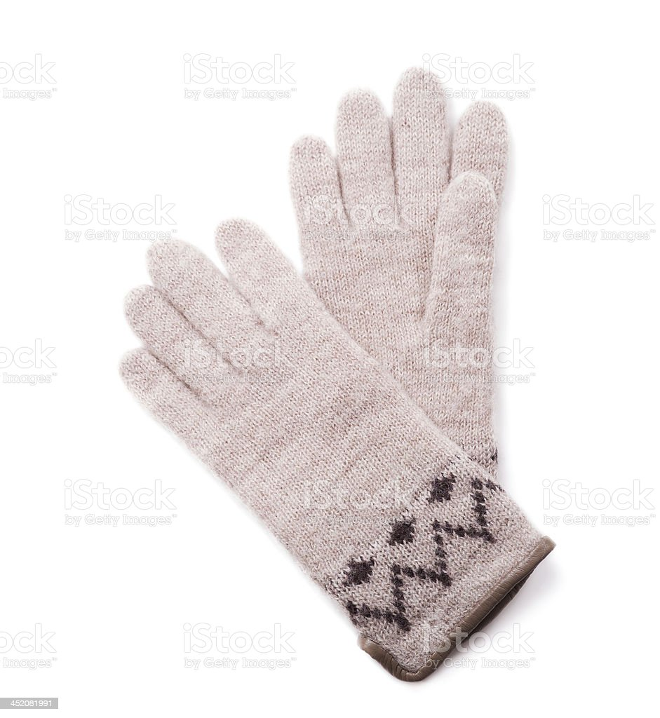 Womens woolen gloves on a white background stock photo